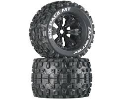 100 Tires For Trucks DuraTrax Six Pack MT 38 PreMounted Truck Black 2 12