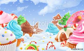 Cupcake Fairy Cake Winter Sweet Landscape Christmas Background 3d Vector Illustration