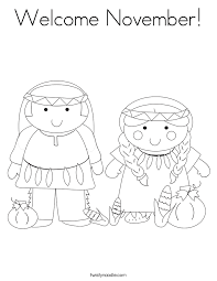 Welcome November Coloring Page