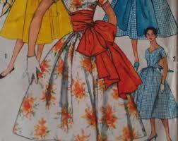 Vintage 50s V Neck Cummerbund Huge Sash Party Dress EASY Sewing Pattern 1965 B31