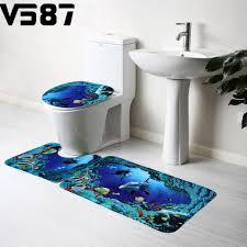 3 teiliges badezimmer teppich set rutschfeste microfaser zottel weich badematte kontur badematte toilettensitzbezug blau