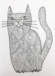 Kittys Cat Coloring Book With Hearts Pattern In Black And White