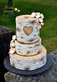 This Is Our Silver Birch Log Slice Wedding Cake We Can Put Your Initials In The Heart Carved Front Of To