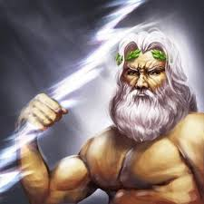 Zeus The Thunderer With Lightning Bolt In Hand Laurel Wreath On Head And Eagle Background