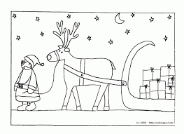 Coloriage Le P Re Noël Et Son Traineau Avec Pere Noel Et Son À Pour