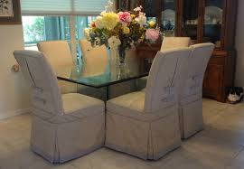 Six Dining Room Chairs Slipcovered With A Moire Fabric And Trimmed Tabs Buttons