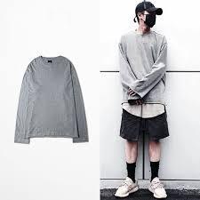 New Vintage Oversize Men T Shirt Kanye West Long Sleeve Shirts Brand Hip Hop