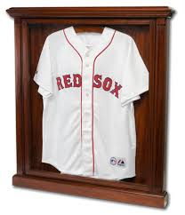 Wooden Case Displaying A White Red Sox Jersey