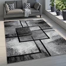 teppich wohnzimmer vintage kurzflor modernes geometrisches muster abstrakt grau