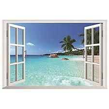 hallobo wandaufkleber fenster hawaii meer insel urlaub wandsticker wandtattoo wall sticker wohnzimmer schlafzimmer deko korridor esszimmer
