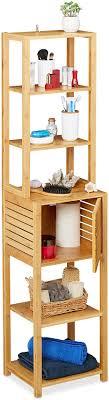 relaxdays badregal aus bambus 7 böden 1 fach mit tür stehend bad küche hohes badmöbel hxbxt 149x35x29 cm natur 1 stück