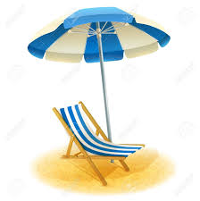 Deck Chair With Umbrella And Beach Sand In Summer Cartoon Vector Illustration Stock
