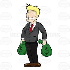 Laughing Man Carrying Bags Money