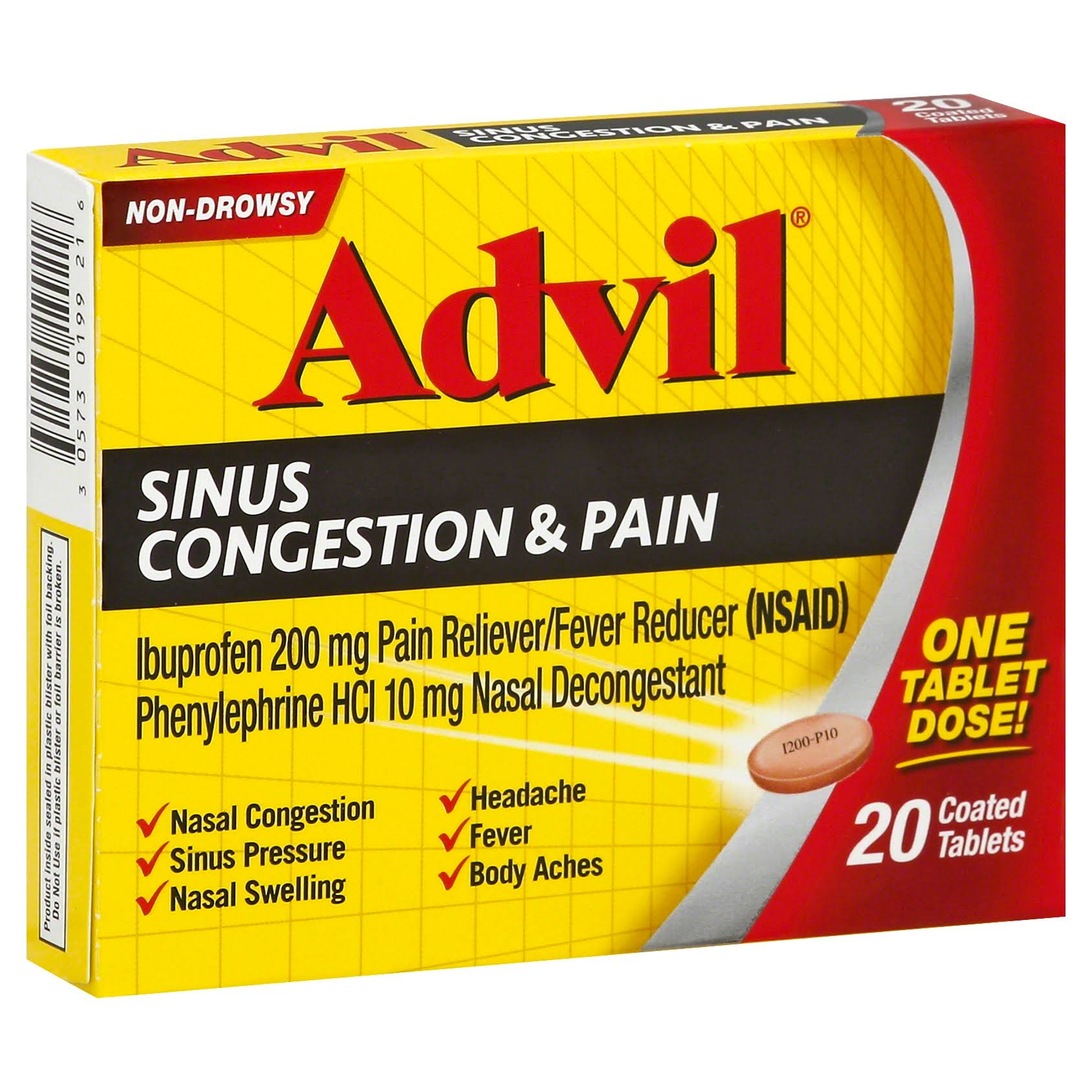 Advil Sinus Congestion & Pain Reliever Coated Tablets - 20ct