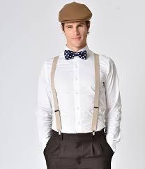 1920s Mens Clothing Taupe Adjustable Suspenders 1400 AT Vintagedancer