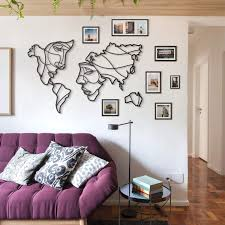 faces of world map xl metal wall by hoagard 146x94cm