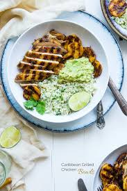 Caribbean Chicken Bowls With Grilled Plantains