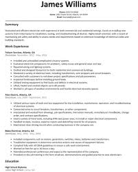 Resume Templates Sample For Electrical Helper Electrician