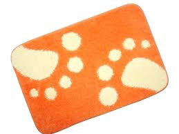 Orange Bath Mats Bath Mat In Thick Cotton Terry With A Stripe