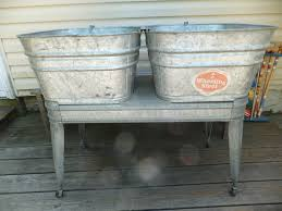 Galvanized Water Trough Bathtub by Vintage Wheeling Galvanized Metal Double Wash Tubs W Wheeled Stand