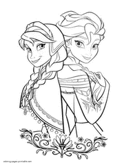 Elsa And Anna Frozen Coloring Sheets For Girls Printable