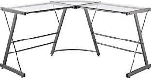 amazon com ameriwood home odin glass l shaped computer desk gray