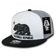 California Republic State Bear Flag Snapback Hat Black White