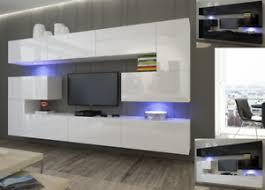 details zu moderne wohnwand schrankwand hochglanz wohnzimmer next 3 inkl led