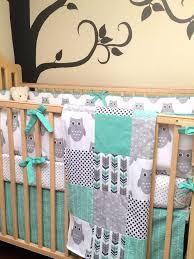Mint Green Crib Bedding by Owl Bedding For Baby Boy Pink Owl Bird Crib Set Baby Bedding Owl