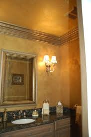 Metallic Gold Plaster Troweled Walls Gilded Ceiling Glazed Trim Traditional Powder