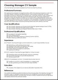 Cleaning Manager Cv Sample Myperfectcv Rh Co Uk Maintenance Resume Job