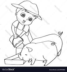 Coloring Book Child Feeding Pigs Vector Image