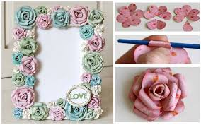 DIY Paper Rose Flowers Photo Frame Step By