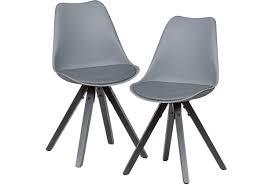 wohnling 2er set retro esszimmerstuhl grau mit schwarzen beinen küchenstuhl kunstleder gepolstert