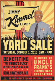 Jimmy Fallon I Ate Your Halloween Candy by Abc U0027s Jimmy Kimmel Live To Host First Ever Yard Sale On Saturday