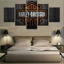 Framed 5 Panels Motor Harley Davidson Cycles Painting Canvas Wall Art Home Decor