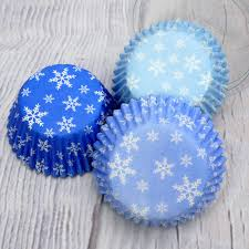Snowflake Design Blue Cupcake Cases 75Pc