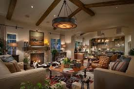 Ralph Lauren Style Living Room Southwestern With Beams Painted Side Tables And End