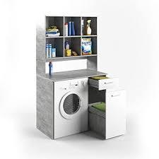 vicco waschmaschinenschrank kombination beton 185 x 103 x 60 cm badregal hochschrank waschmaschine bad schrank badezimmerschrank beton