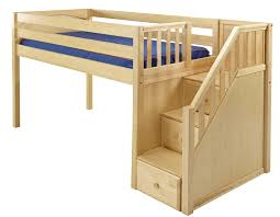 Maxtrix line Low loft bed with stairs steps