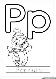 Letter P Coloring Penguin ABC Page