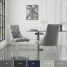 Natalie Upholstered Armless Dining Chair - Set Of 2 | Velvet, Linen Or PU  Leather | Modern Acrylic Legs | Inspired Home