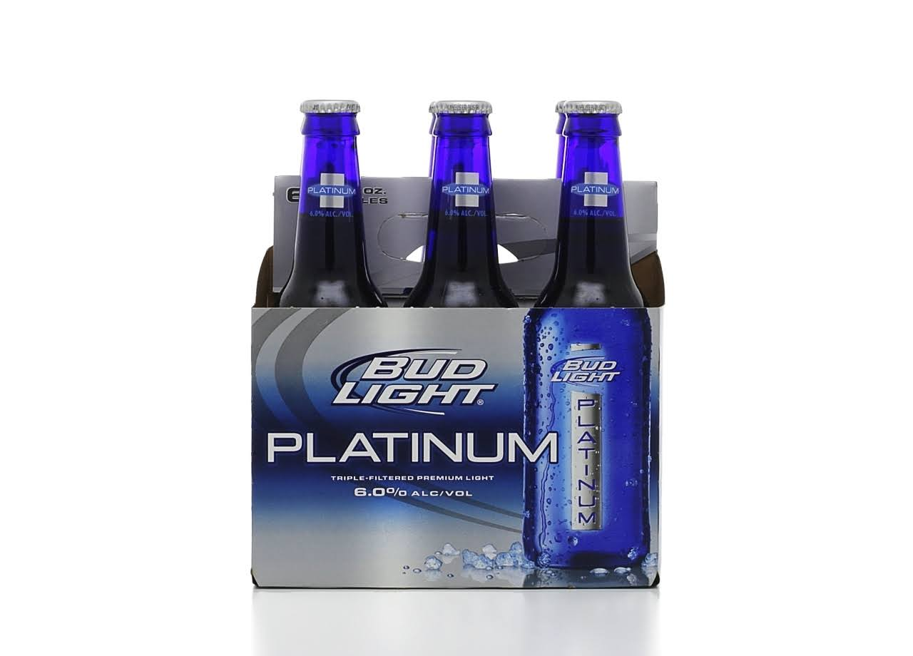 Budweiser Light Platinum Beer - 12oz, 6 Pack