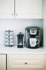 White Marble Kitchen With Nespresso Pixie And Keurig Starbucks K Cups On Fashionable Hostess