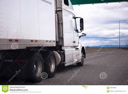 White Semi-truck Moving On Staight Highway Stock Photo - Image Of ...