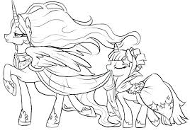 Princess And Unicorn Coloring Pages My Little Pony