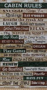 235 X 44 Panel Cabin Rules Camping Words Word Vacation Green Brown Cream Rustic Cotton Fabric CABIN C4807