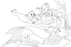 Little Mermaid Plying With Seals And Fish Coloring Pages