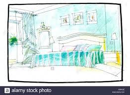 schlafzimmer innenraum zeichnen mit bleistift mit bett und