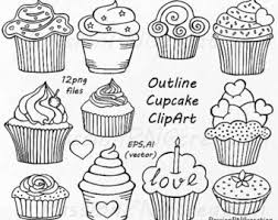 Outline Cupcake Clipart Doodle Cupcakes Clip art Hand drawn cupcake clip art PNG